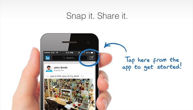 Partage de Photo sur l'app LinkedIn Mobile
